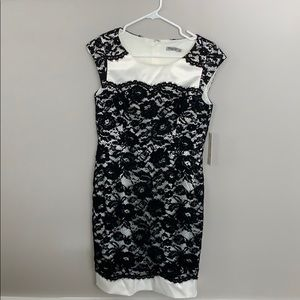 Ivory Dress with black lace overlay NWT